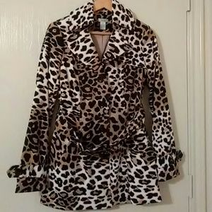 Jackets & Blazers - Cach'e Leopard Print Trench Coat
